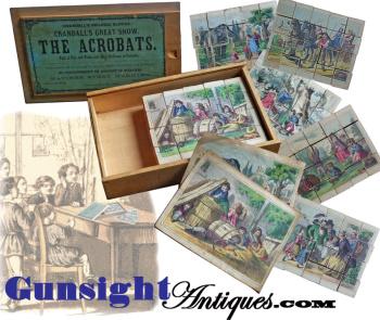 attic find Antique Wood Block PICTURE PUZZLE in CRANDALL'S Pat. 1867 box.  (Image1)