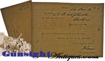 rare! 1862 Slave Labor Receipt for: FORTIFICATIONS  IN AND AROUND RICHMOND (Image1)