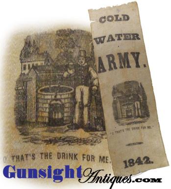 original c.1842 COLD WATER ARMY – Temperance Ribbon  (Image1)