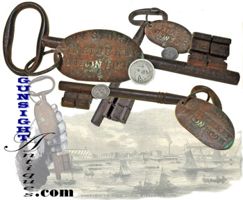 Original Early 19th Century (Kittery, Maine) Navy Yard - Iron Room Key