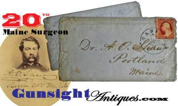 20th Maine Surgeon Abner O. Shaw - Civil War Postal Cover