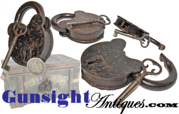 Original Civil War era 'Pat. Applied For' - PADLOCK & KEY (Image1)