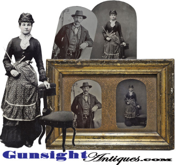 C. 1870s Peace Officer & Well Armed Lady - Tintype Pair