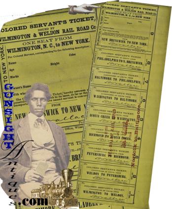Antebellum SLAVE SERVANT'S - WILMINGTON & WELDON RAIL ROAD  TICKET (Image1)