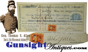 Gen. Thomas S. Allen 2nd & 5th Wisconsin Infantry - Signed Check