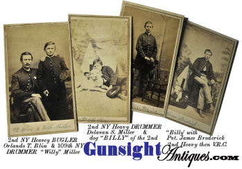 Cdv Group Of 4 - 2nd N. Y. Heavy & 109th N. Y. Infantry - Includes Bugler - 2 Drummers & Dog Billy