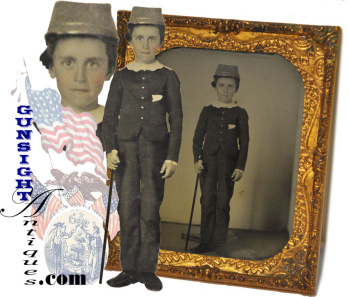6th plate ambrotype – Boy in early (gray) Forage Cap & Ivory Headed Walking Stick   (Image1)