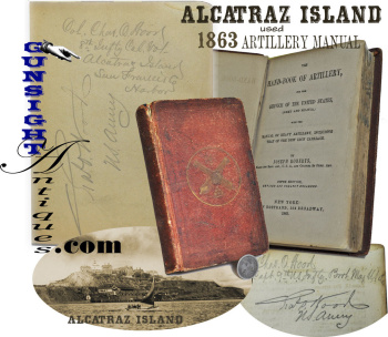 Historic!  1863 Artillery Hand-Book - Col. Charles O. Wood  – 8th California Inf. - ALCATRAZ ISLAND (Image1)
