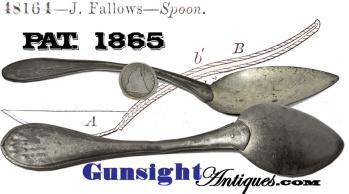 Scarce J. FALLOWS PAT. 1865 - MESS SPOON  (Image1)
