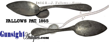 Scarce J. FALLOWS PAT. 1865 – table spoon size MESS SPOON  (Image1)