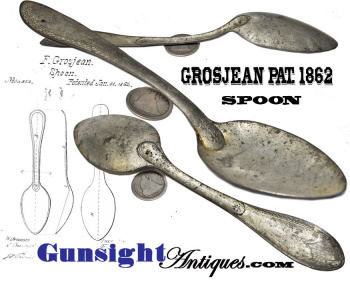 F. Grosgean's  Patent 1862 – two piece tinned iron MESS SPOON (Image1)