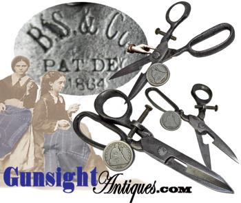 Civil War era - Pat. 1864  BUTTONHOLE SCISSORS (Image1)