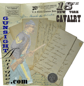5 Civil War Cavalry letters: exchanged between Co. D 1st U. S. Dragoons then 18th NY Cav. friends.  (Image1)