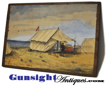 c. 1883 Grass Point Cavalry Camp – WATERCOLOR  (Image1)