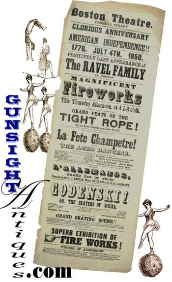 July 4th 1850 - BOSTON THEATER BROADSIDE - Ravel Family company of Gymnasts, Tight Rope & Dancers  (Image1)