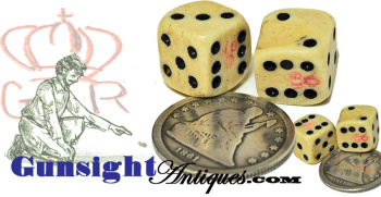 Civil War era tariff marked BONE DICE (Image1)