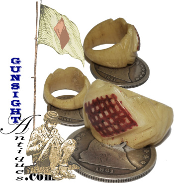 Civil War vintage - 3rd CORPS 1st DIVISION - BONE RING (Image1)