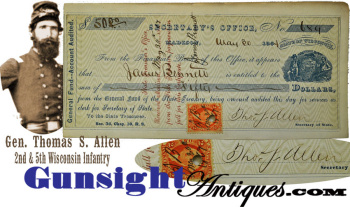 Wisconsin's General T. S. Allen -  SIGNED CHECK (Image1)