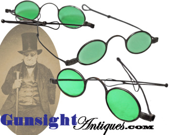 Late 1700s-early 1800s Colored Iron Framed SPECTACLES  (Image1)