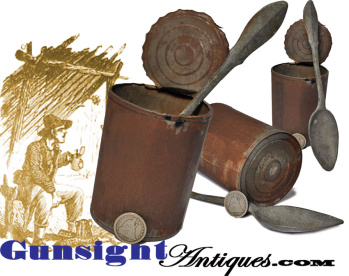 original! Civil War vintage TIN CAN & SPOON (Image1)