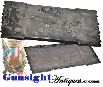 3rd New Hampshire Infantry Civil War Veteran -  G. A. R. COFFIN PLATE  (Image1)