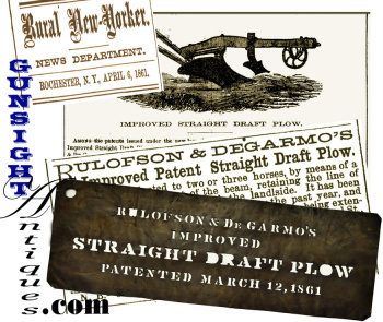 Large Period Agricultural Stencil - Patent 1861 Improved Straight Draft Plow