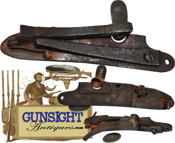 early Pennsylvania Long Rifle - Samuel Morrison – 'mule ear' PERCUSSION LOCK (Image1)