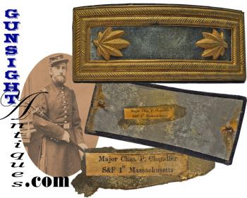 Infantry Major  Insignia Strap of – KILLED IN ACTION -  Maj. Chas. P. Chandler - 1st Massachusetts V (Image1)