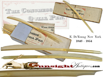 Original C.1846-54 Congress Quill Penn By E. Deyoung, New York