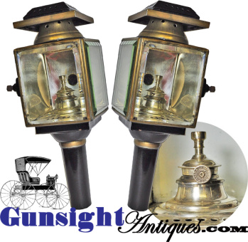 exceptionally nice mid 1800s CARRIAGE LAMP pair (Image1)