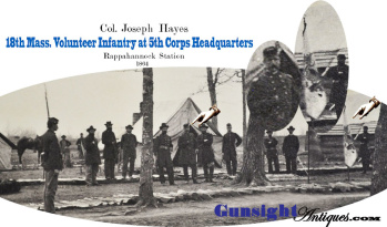 Civil War Photograph -18th Mass. Col. - soon to be Gen. Hayes at 5th Corps HQ  (Image1)