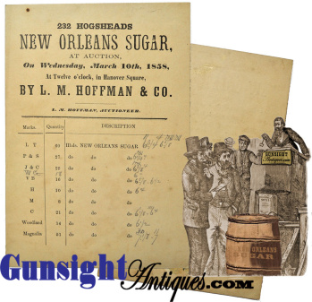 1858 L. M. Hoffman & Co. - AUCTION BID CARD –  232 hogsheads - Prime New Orleans Sugar (Image1)