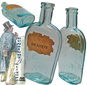 Civil War era aqua glass BRANDY FLASK (Image1)
