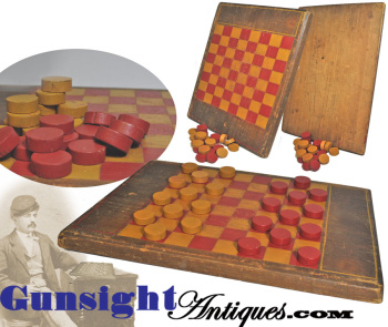 hand crafted - antique CHECKER BOARD & CHECKERS (Image1)