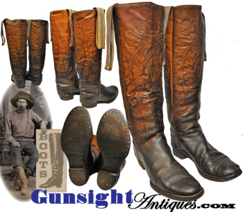 outstanding early mid-1800s - fancy stitched Wellington style COWBOY BOOTS (Image1)