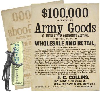 J. C. Collins - Civil War Surplus – early post Civil War - MILITARY GOODS SALES BROADSIDE            (Image1)