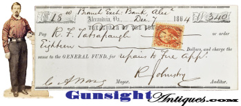 c.1864 - Alexandria Virginia Mayor - Signed check to Fire Dept. Chief Engineer (Image1)
