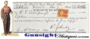 c.1864 - Alexandria Virginia Mayor - Signed check to Fire Dept. Chief Engineer (Image1)