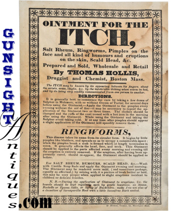 c. 1830s Thomas Hollis – OINTMENT FOR THE ITCH -  BROADSIDE  (Image1)