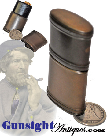 Civil War era hard rubber MATCH CASE (Image1)