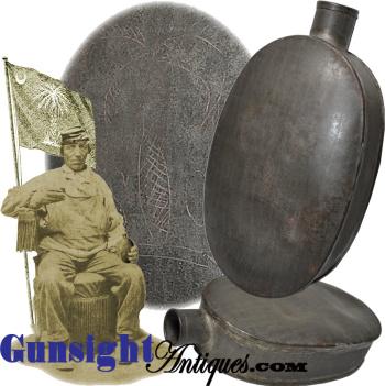 Civil War vintage - South Carolina Palmetto – TIN HIP FLASK  (Image1)