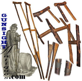 Civil War vintage handcrafted Cherry Wood - CRUTCHES (Image1)