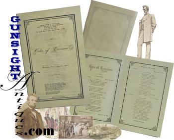 original Abraham Lincoln – April 19, 1865 FUNERAL PROGRAM  (Image1)