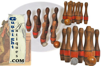 Scarce scaled down - 19th century 9 pin traveling SKITTLES GAME (Image1)