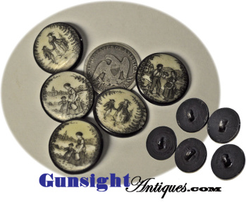 rarely offered set of 5 - 18th Century Liverpool Transfer – CERAMIC BUTTONS  (Image1)