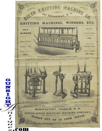 Civil War Vintage - Industrial Knitting Machine Broadside