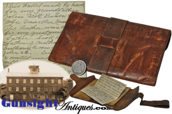 handmade - Civil War era WALLET - Bakersville, Conn. - BAKER FAMILY PROVENANCE (Image1)