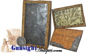 rarely surviving! Civil War vintage Mercury backed pocket- ADVERTISING MIRROR  (Image1)
