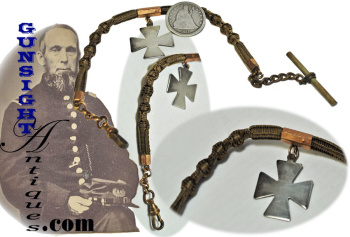 original! Civil War vintage 5th Corps - HAIR WATCH CHAIN (Image1)