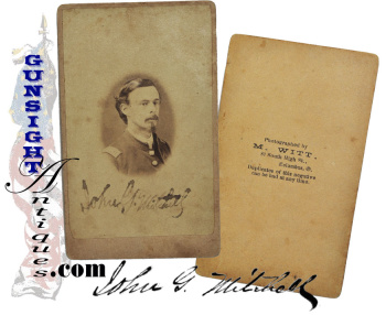 Rare! early Civil War service CDV – Gen. John Grant Mitchell as Capt. 3rd Ohio Infantry (Image1)